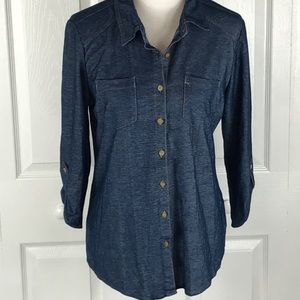 French Laundry Blue Stretch Jean Button Up Top